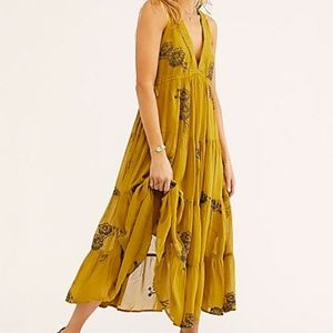 Free People Run Away With Me Embroidered Midi Dres